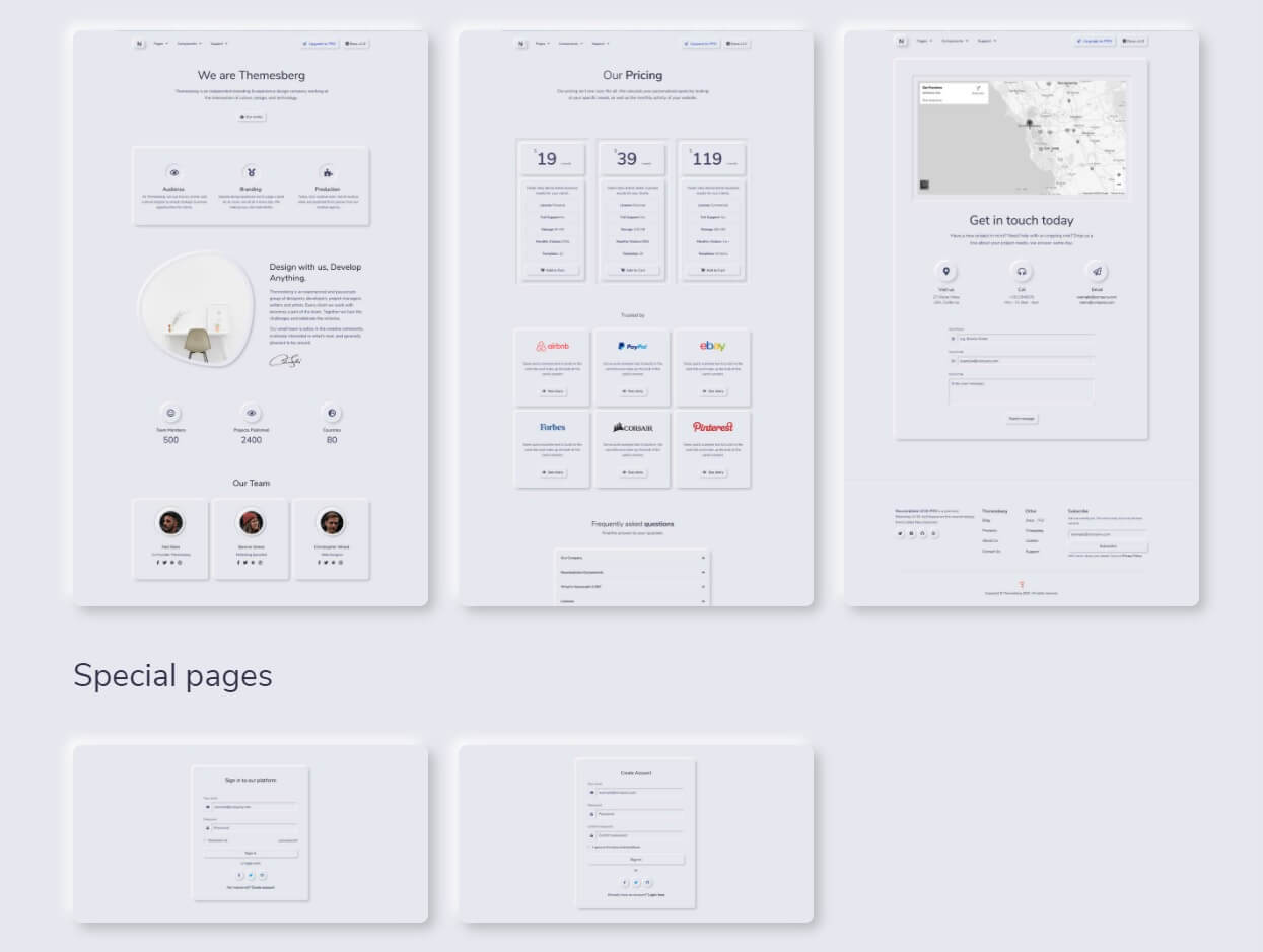 Neuromorphism UI Bootstrap - Sample Pages.