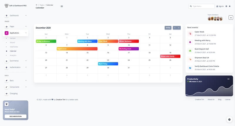 Interactive calendar page provided by Soft UI Dashboard that showcase many charts and widgets nicely aligned and presented.